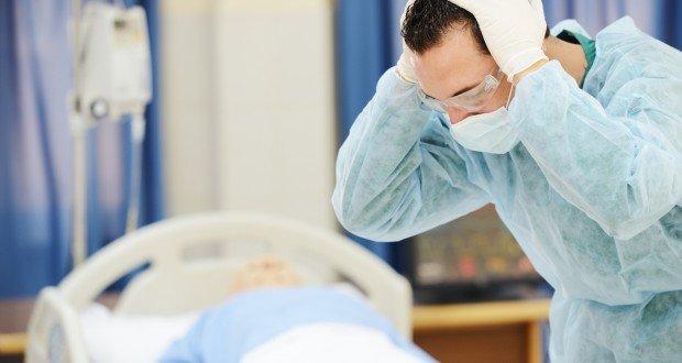 upset masked doctor
