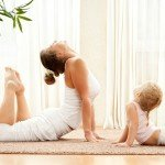 woman and child yoga