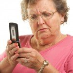older woman using cell phone